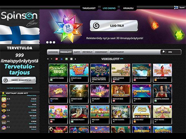spinson-casino-etusivu-ilmaiskierrokset