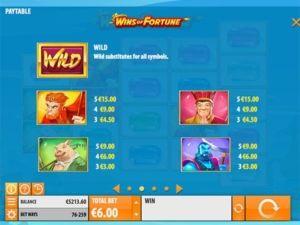 wins-of-fortune-voittotaulukko