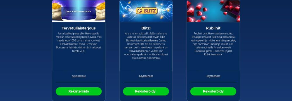 Casino Heroes tarjoukset