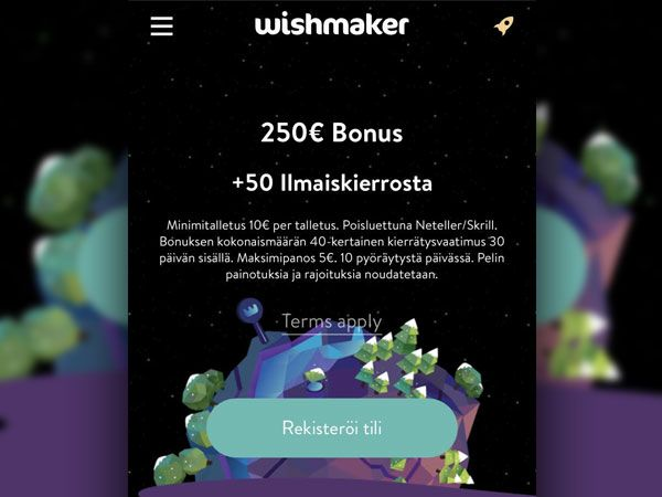 Wishmaker Casino mobiili