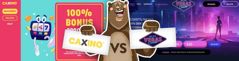 Vertaa nettikasinot: Caxino ja Neon Vegas