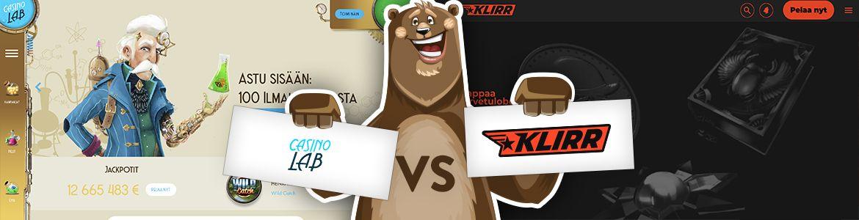 Vertaa nettikasinot: Klirr nettikasino ja CasinoLab