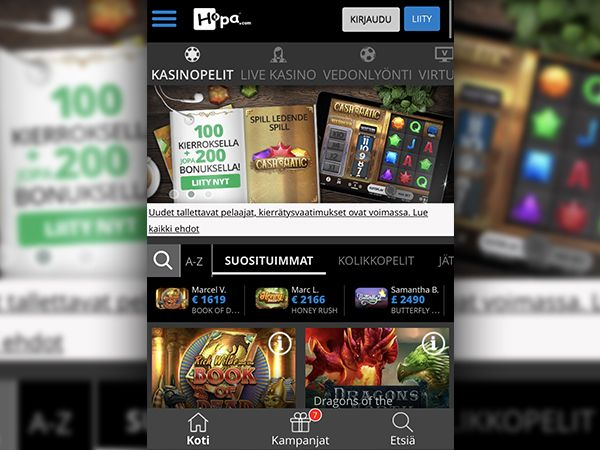 Hopa Casino mobiili
