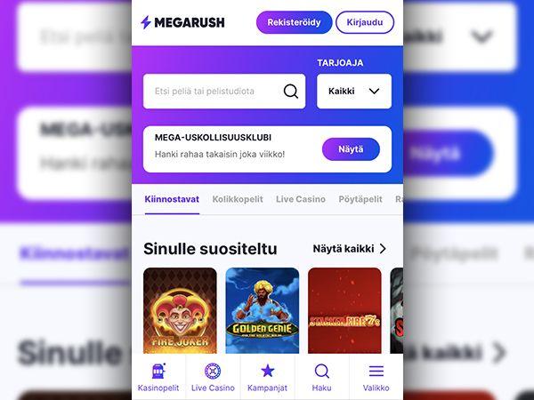 Megarush Casino mobiili