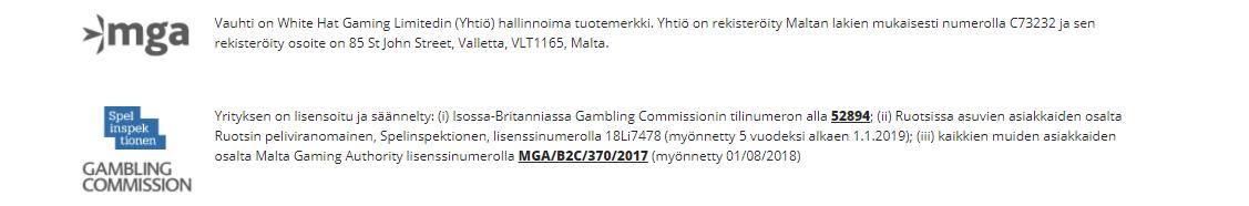 Vauhti kasino lisenssi