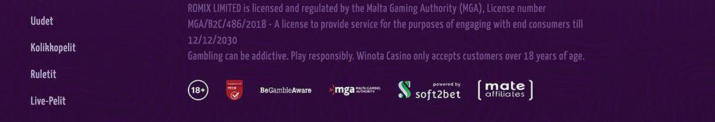 Winota Casino lisenssi