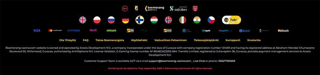 Boomerang Casino lisenssi