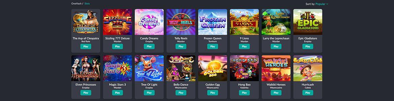 OneHash Casino pelivalikoima