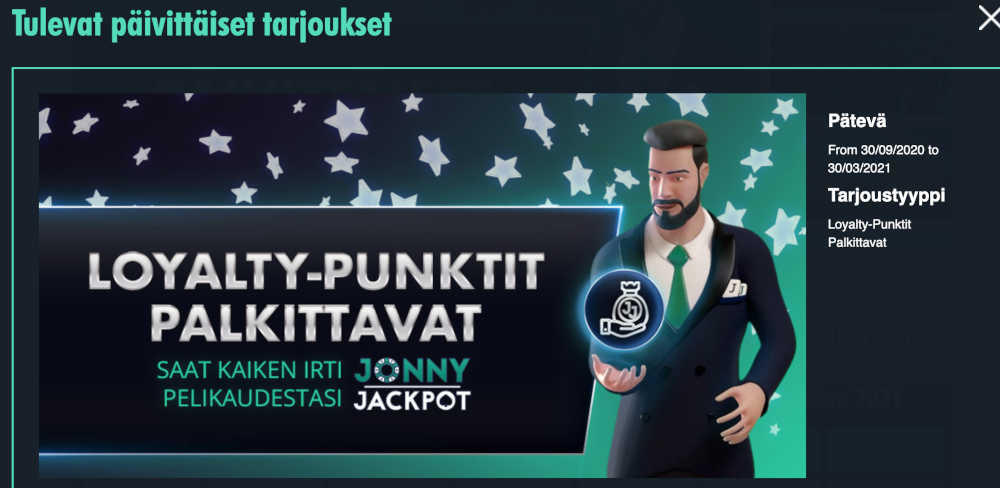Jonny Jackpot loyalty-punktit