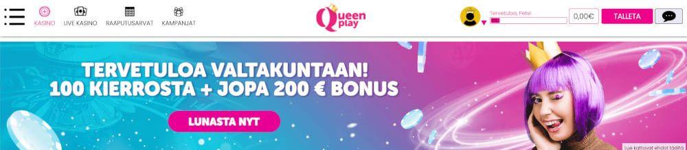 Queen Play casino ulkoasu