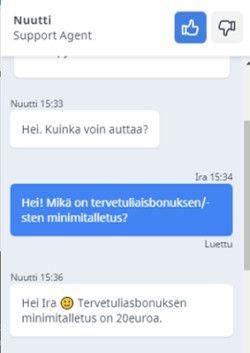 Kalevala Kasinon livechat
