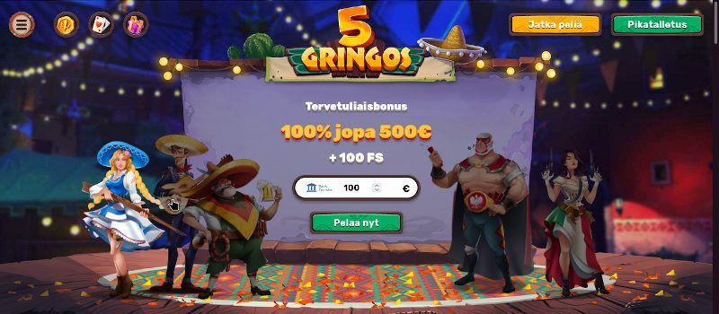 5Gringos Casino bonukset