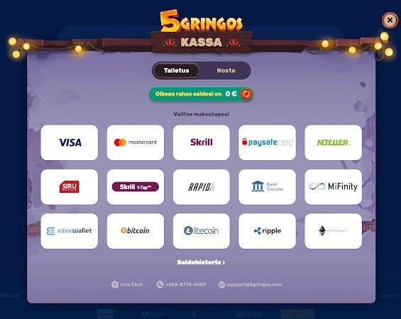 5Gringos Casino Talletus