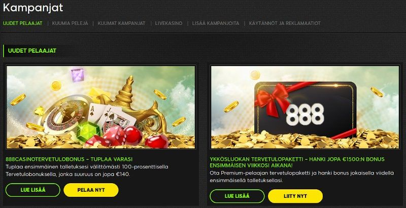 888 Casino Tarjoukset
