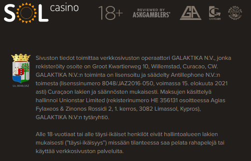 Sol Casino Lisenssi