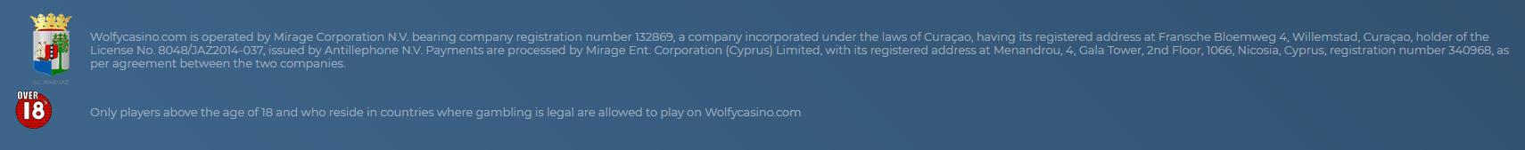 Wolfy Casino Lisenssi