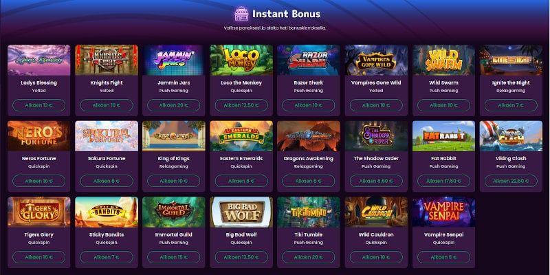 Boom Casino Välittömät bonustoiminnot