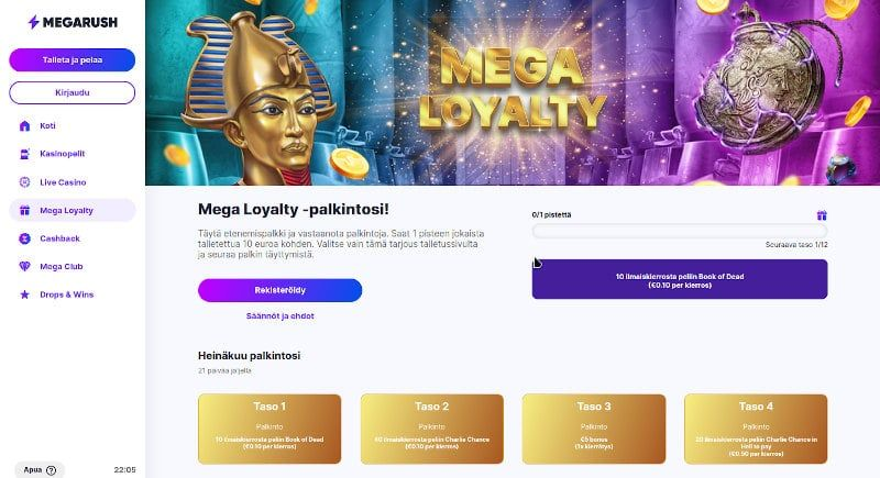 MegaRush Casino Loyalty Palkintosi