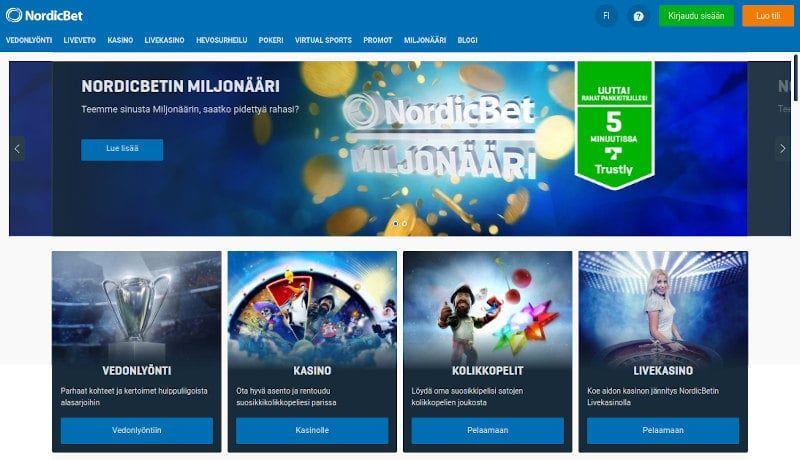 NordicBet Casino Kotisivu