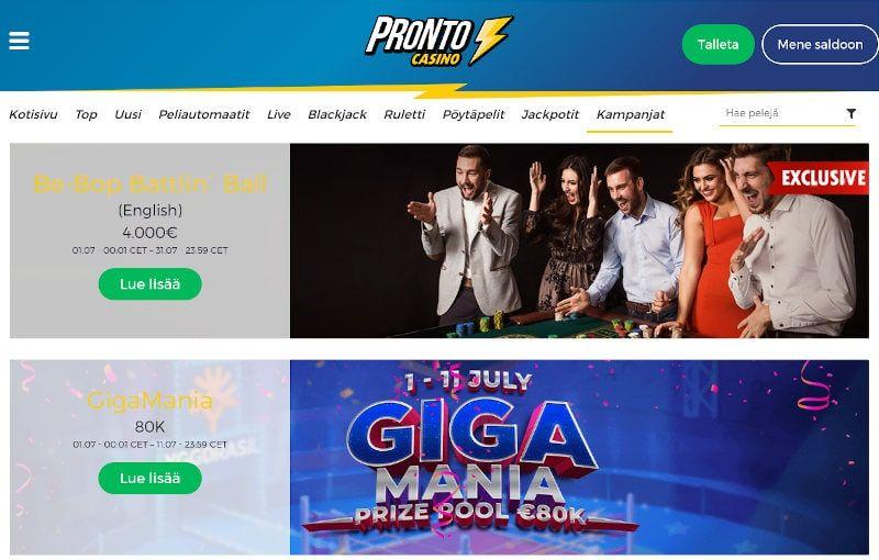 Pronto Casino Tarjoukset