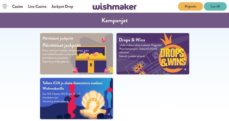 Wishmaker Casino Tarjoukset