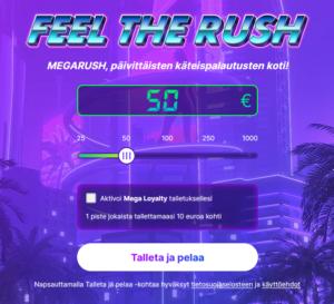 MegaRush Casino talletus