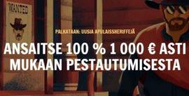 Rapid Casinolta 1000€ ja 300 ilmaiskierroksen bonuspaketti.